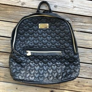 Betsy Johnson Black Heart Quilted Backpack